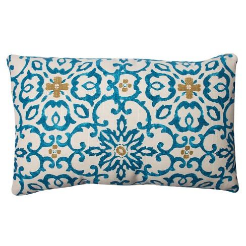 """Pillow Perfect Souvenir Scroll Rectangular Throw Pillow - 18.5""""x11.5"""" - Aqua/Maize - image 1 of 1"""