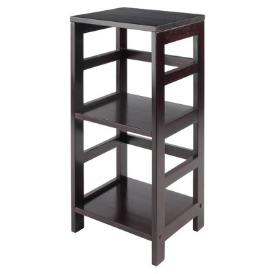 "29.21"" 2 Tier Leo Shelf Storage or Bookshelf Narrow Espresso Finish - Winsome"