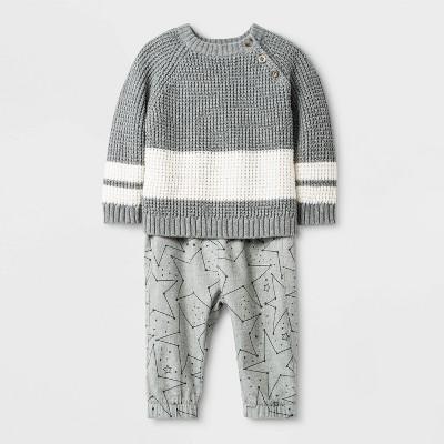 Baby Boys' Sweater Top & Bottom Set - Cat & Jack™ Gray 0-3M
