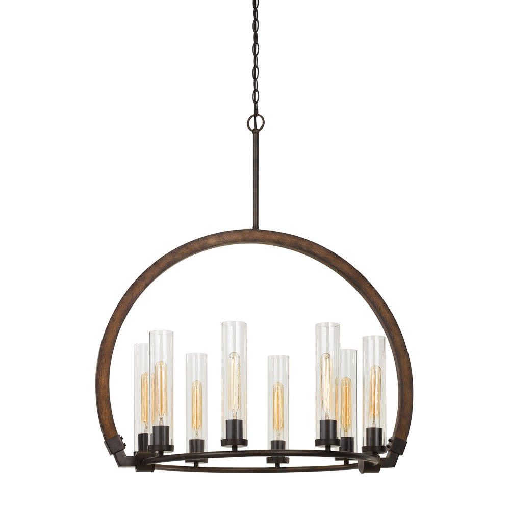 Best Sale 60W X 8 Sulmona WoodMetal Chandelier With Glass Shade Ceiling Light Edison Bulbs Not Included Cal Lighting Multi Colored