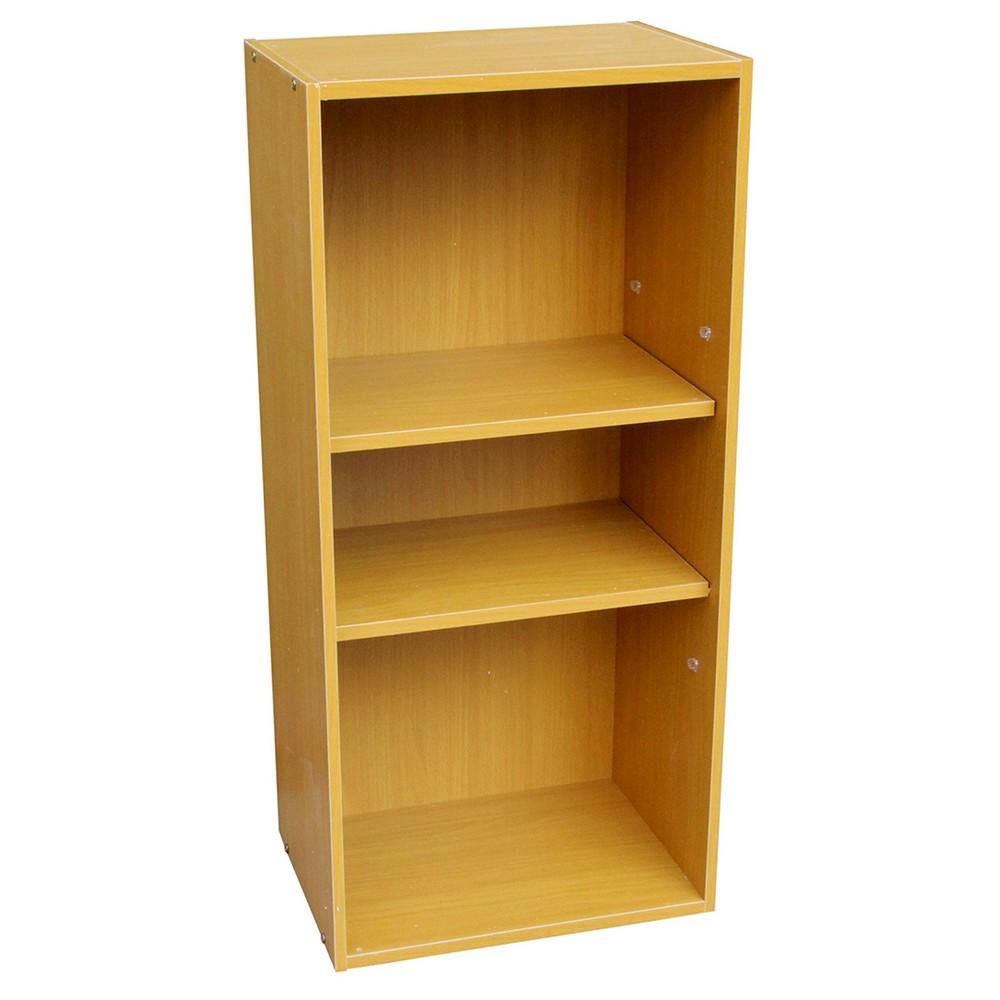 "Image of ""35.5"""" 3 Tier Adjustable Book Shelf Tan Wood - Ore International, Brown"""