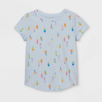 Girls' Printed Short Sleeve T-Shirt - Cat & Jack™ Light Blue