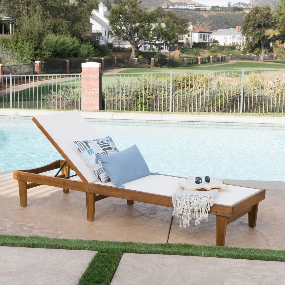 Summerland Acacia Wood Chaise Lounge -Teak/White - Christopher Knight Home, Brown/White