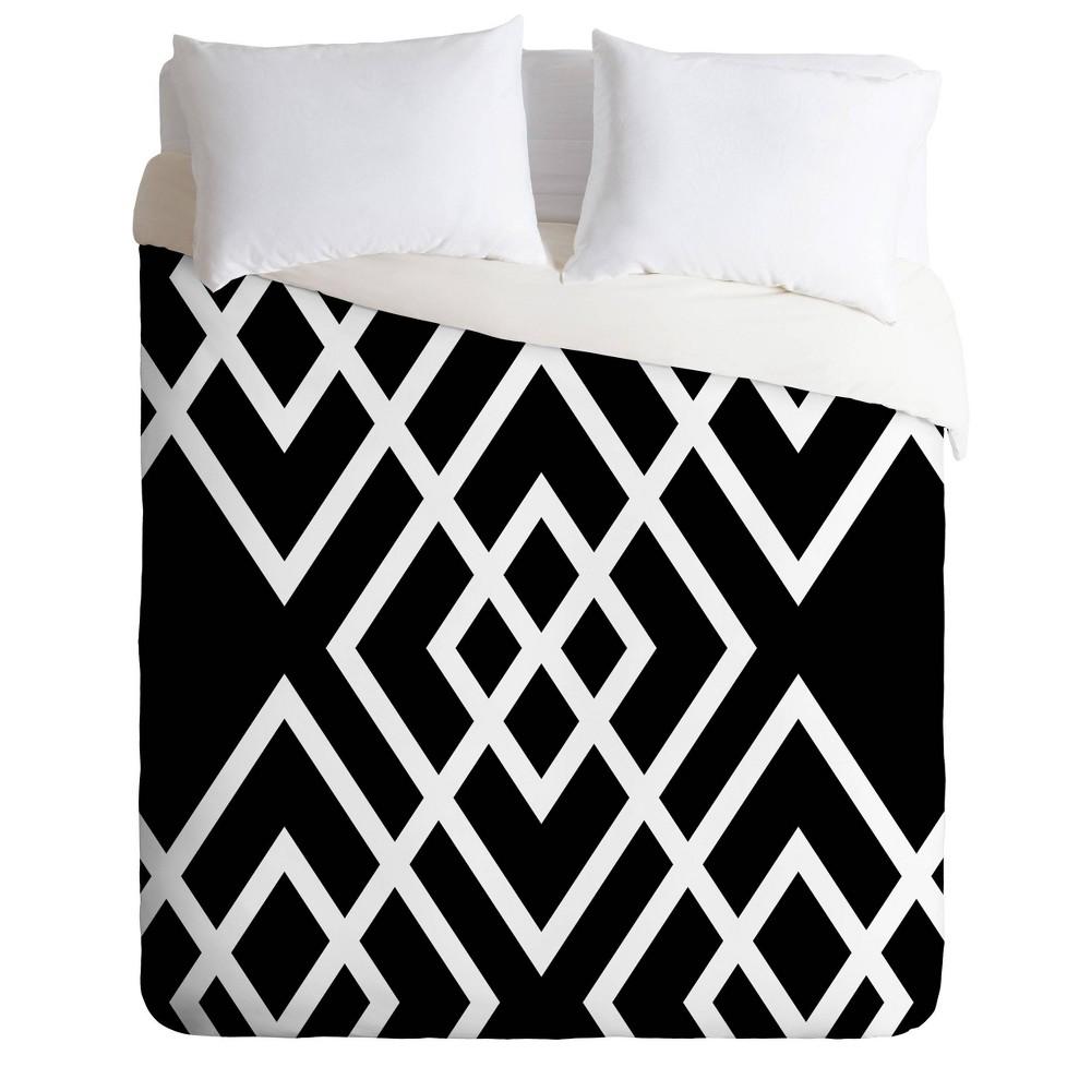 Queen Full Three Of The Possessed Inbetween Comforter Set Black White Deny Designs