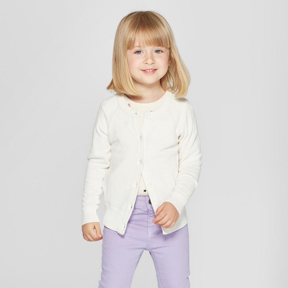 Toddler Girls' Cardigan - Cat & Jack Almond Cream 2T, White