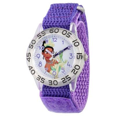 Girls' Disney Princess Tiana Clear Plastic Time Teacher Watch - Purple