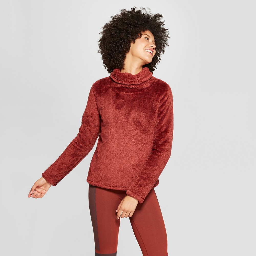 Women's Sherpa Cowl Neck Pullover - JoyLab Madder Brown L