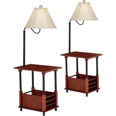 Regency Hill Marville Mission Style End Table Floor Lamps Set of 2