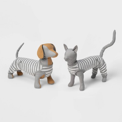 Striped Dog and Cat Matching Family Pajamas - Gray