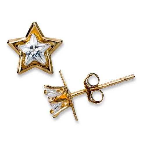 Cubic Zirconia Star Stud Earrings in 10K Yellow Gold (4mm) - image 1 of 1