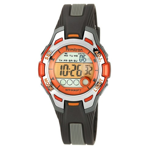 Women's Armitron Digital and Chronograph Sport Resin Strap Watch - Black with Orange Accents - image 1 of 1