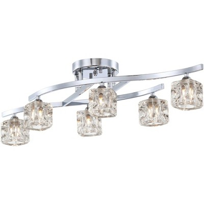 "Possini Euro Design Modern Ceiling Light Semi Flush Mount Fixture Chrome 30 1/2"" Wide 6-Light Clear Crystal Cube Bedroom Kitchen"