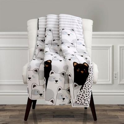 50 x60  Striped Bear Throw Blanket Gray