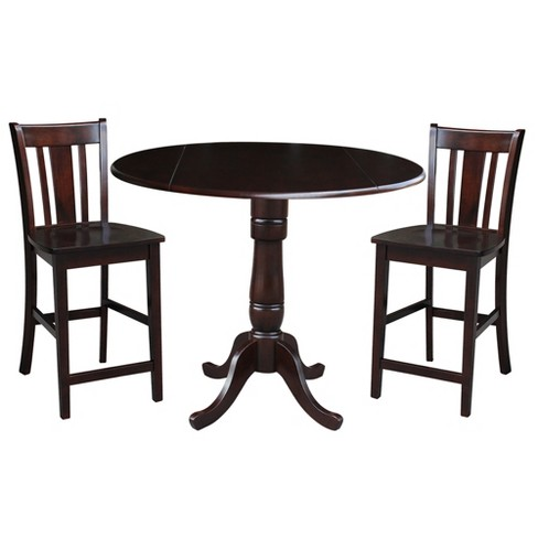 """35.5"""" Daniel Round Pedestal Gathering Height Table with 2 Counter Height Stools In Mocha Brown - International Concepts - image 1 of 3"""