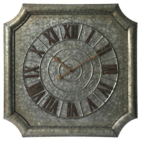 Stamped Metal Wall Clock Silver - Infinity Instruments® - image 1 of 2