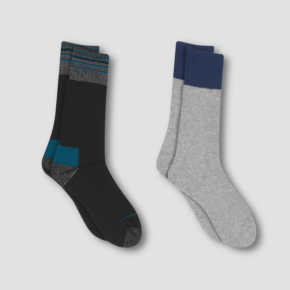 Image of Men's Outdoor Heavyweight Wool Blend Crew Socks 2pk - C9 Champion Cool Water 6-12, Size: Small, Blue