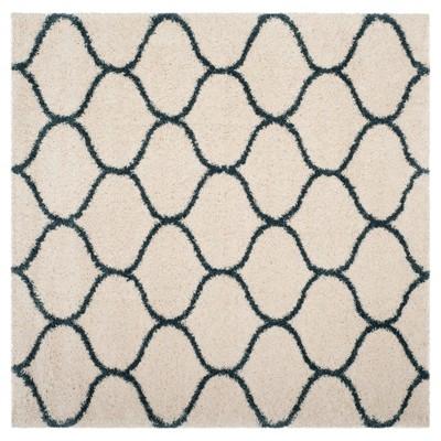 Ivory/Slate Blue Abstract Shag/Flokati Loomed Square Area Rug - (7'X7')- Safavieh®