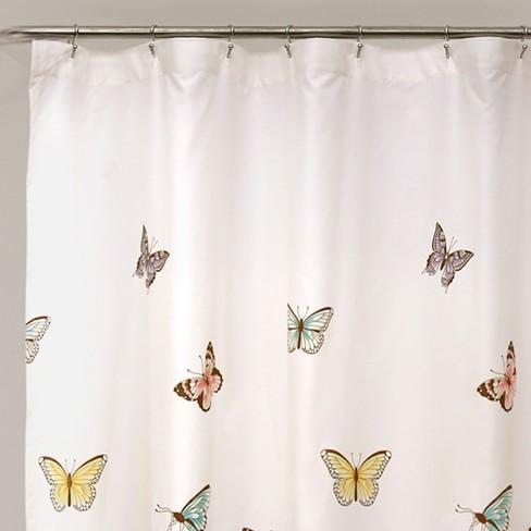 23b71979f9e0 Flutter Butterfly Shower Curtain Pink - Lush Decor   Target