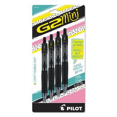 Pilot® G2 Mini Retractable Gel Pen, Fine 0.7mm, Black Ink/Barrel, 4/Pack 31734