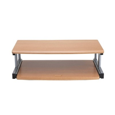 Mind Reader 2 Tier Monitor Stand/Riser with Sliding Drawer for Keyboard Brown