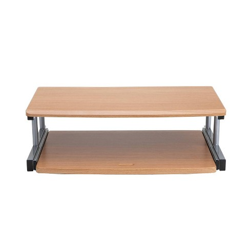Mind Reader 2 Tier Monitor Stand/Riser with Sliding Drawer for Keyboard Brown - image 1 of 4