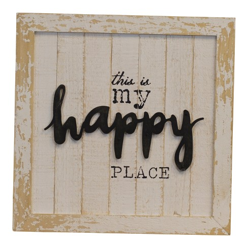 "Wood ""Happy Place"" Wall Sign Panels Beige 16"" x 16"" - VIP Home & Garden - image 1 of 2"