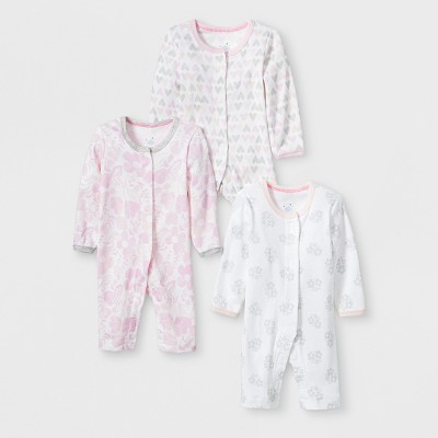 Baby Girls' 3pk Print Snap Sleep 'N Play - Cloud Island™ Pink/Gray Preemie