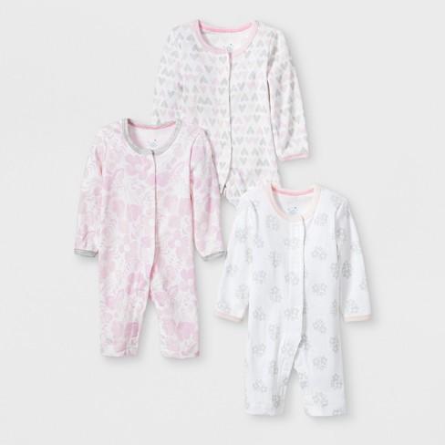 771cfcc33 Baby Girls  3pk Print Snap Sleep  N Play - Cloud Island™ Pink Gray ...
