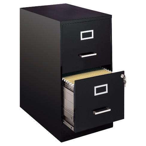 Hirsh 2 Drawer File Cabinet Letter With Label Holder Black Target