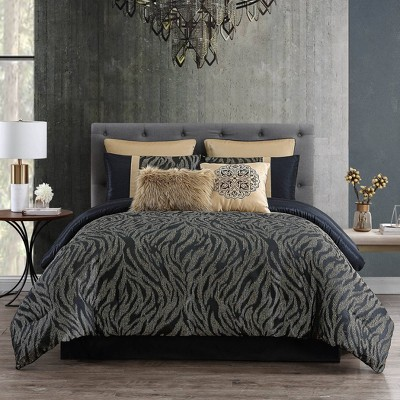 8pc King Kenya Comforter Set Black - Riverbrook Home