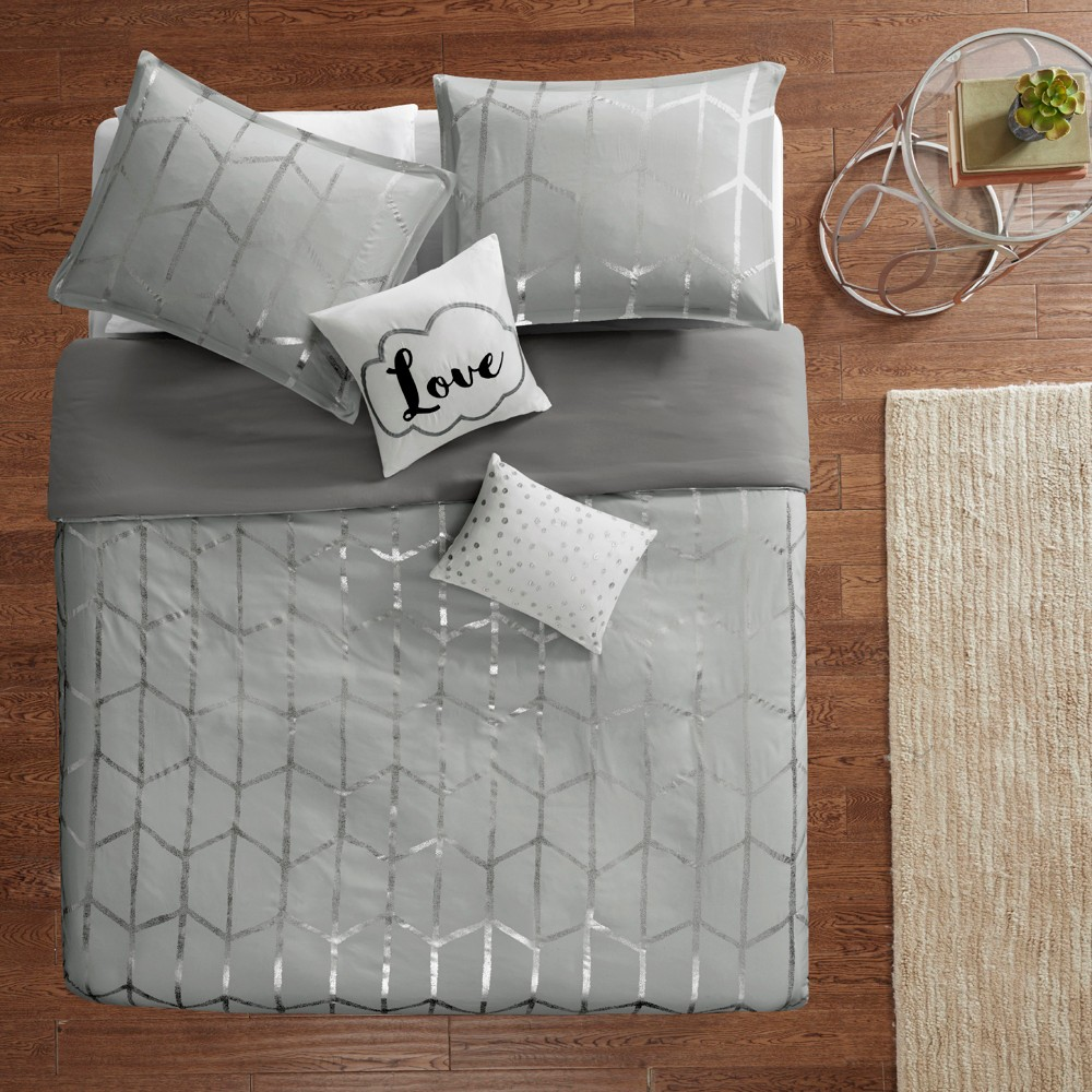 Image of 5pc Full/Queen Arielle Printed Duvet Cover Set Gray/Silver