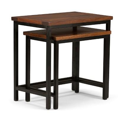 2pc Rhonda Solid Mango Wood Nesting Side Table - Wyndenhall