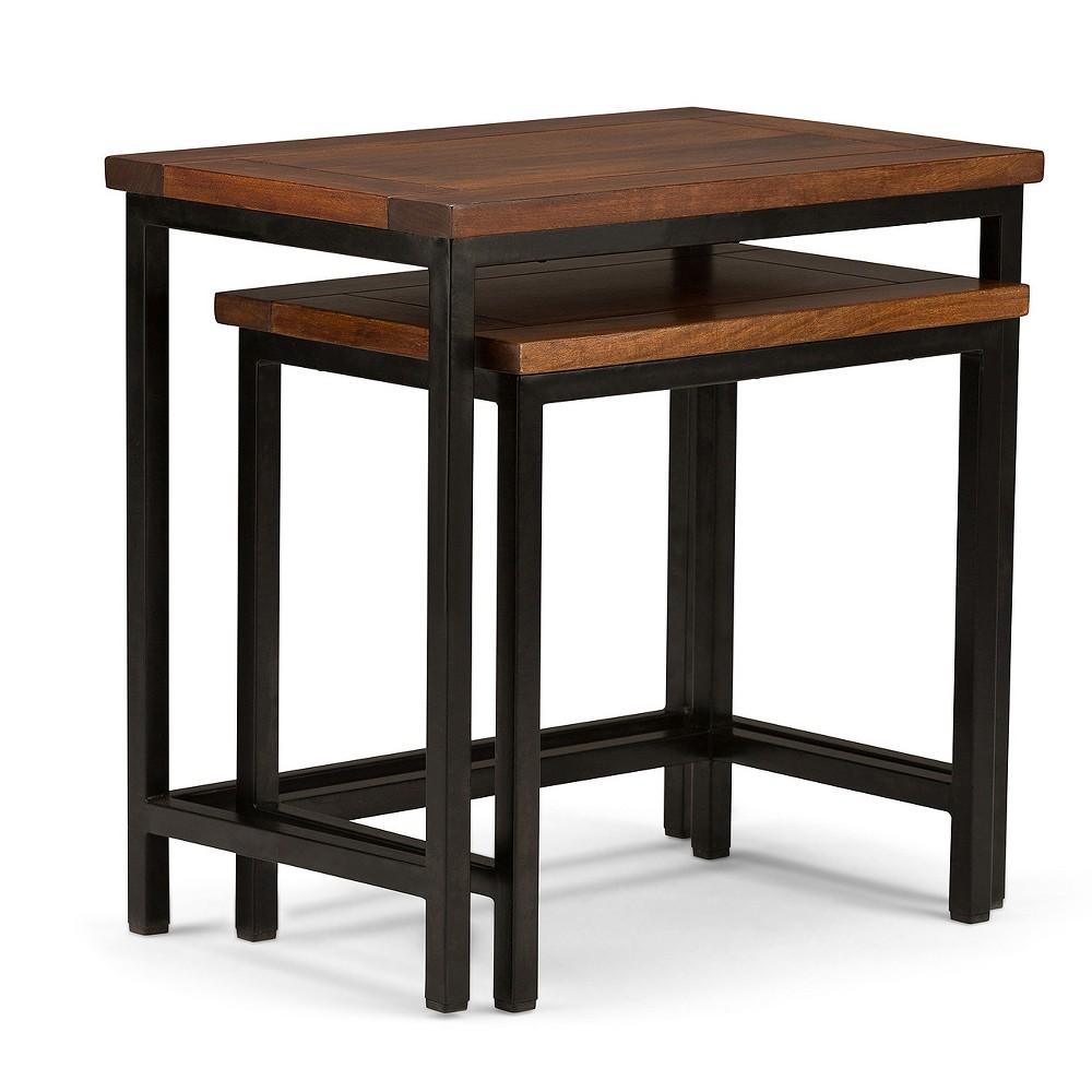"Image of ""25"""" 2pc Rhonda Solid Mango Wood Nesting Side Table Dark Cognac Brown - Wyndenhall"""