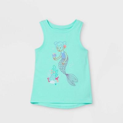 Toddler Girls' Glitter Mermaid Graphic Tank Top - Cat & Jack™ Mint