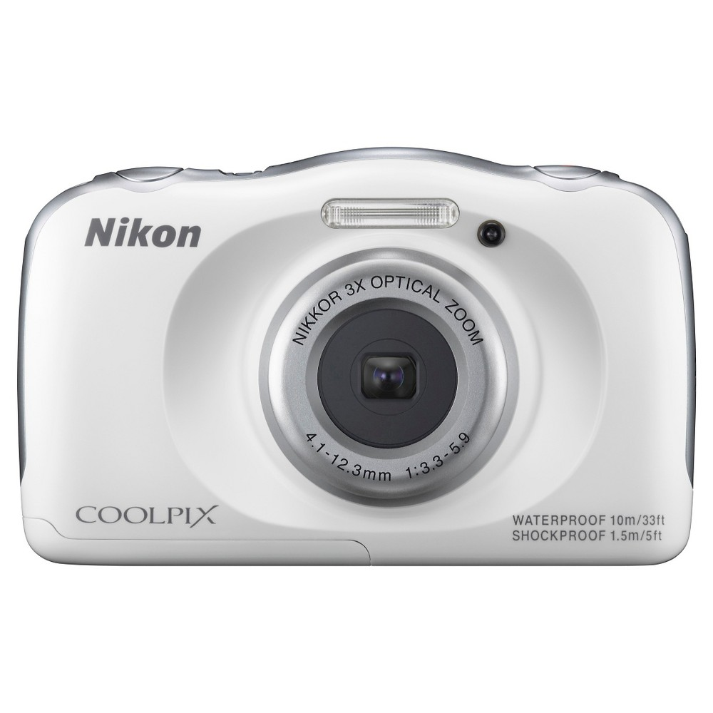 Nikon COOLPIX S33 13.2MP Waterproof Digital Camera with 3x Zoom - White