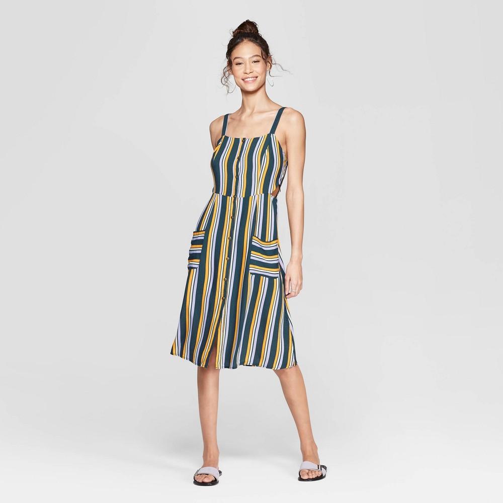 Women's Striped Square Neck Strappy Button Front Midi Dress - Xhilaration Black XL, Gray