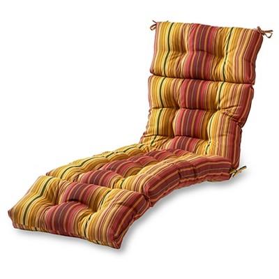 Kinnabari Stripe Outdoor Chaise Lounge Cushion - Kensington Garden
