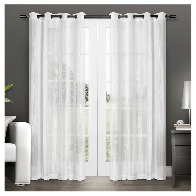 Set of 2 Penny Sheer Window Curtain Panels White (50 x84 )Exclusive Home