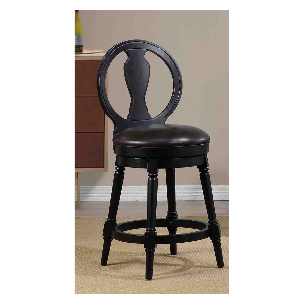 """Image of """"40.5"""""""" Candace Counter Height Swivel Stool Black - Foremost"""""""