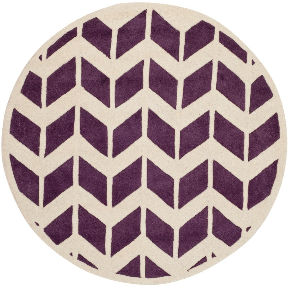 5' Chevron Round Area Rug Purple/Ivory - Safavieh