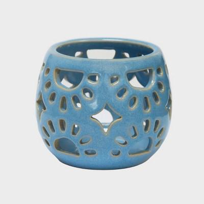 "3"" Mini Ceramic Tea Light Outdoor Lantern Turquoise - Opalhouse™"