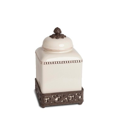 GG Collection 12-Inch Tall Cream Ceramic Canister with Acanthus Leaf Adorned Metal  Base