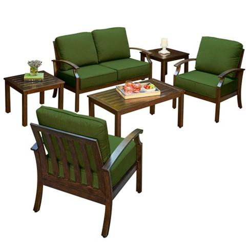 6pc Bridgeport Cushion Conversation Seating Set Green Royal Garden Target