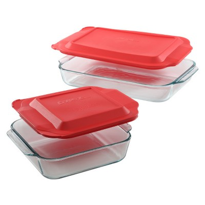 Pyrex 4pc Bakeware Value Set Red