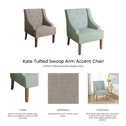 Admirable Kate Tufted Swoop Arm Accent Chair Putty Homepop Target Download Free Architecture Designs Grimeyleaguecom