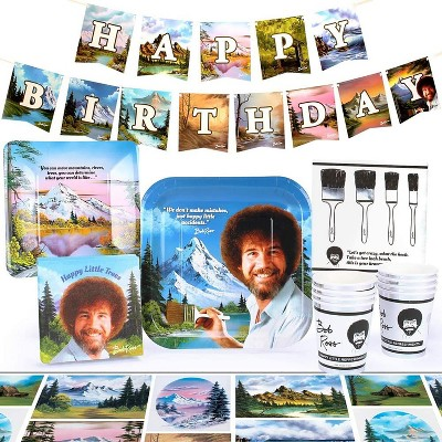 Prime Party Bob Ross Classic Birthday Party Supplies Pack 66 Pieces Serves 8 Guests Target