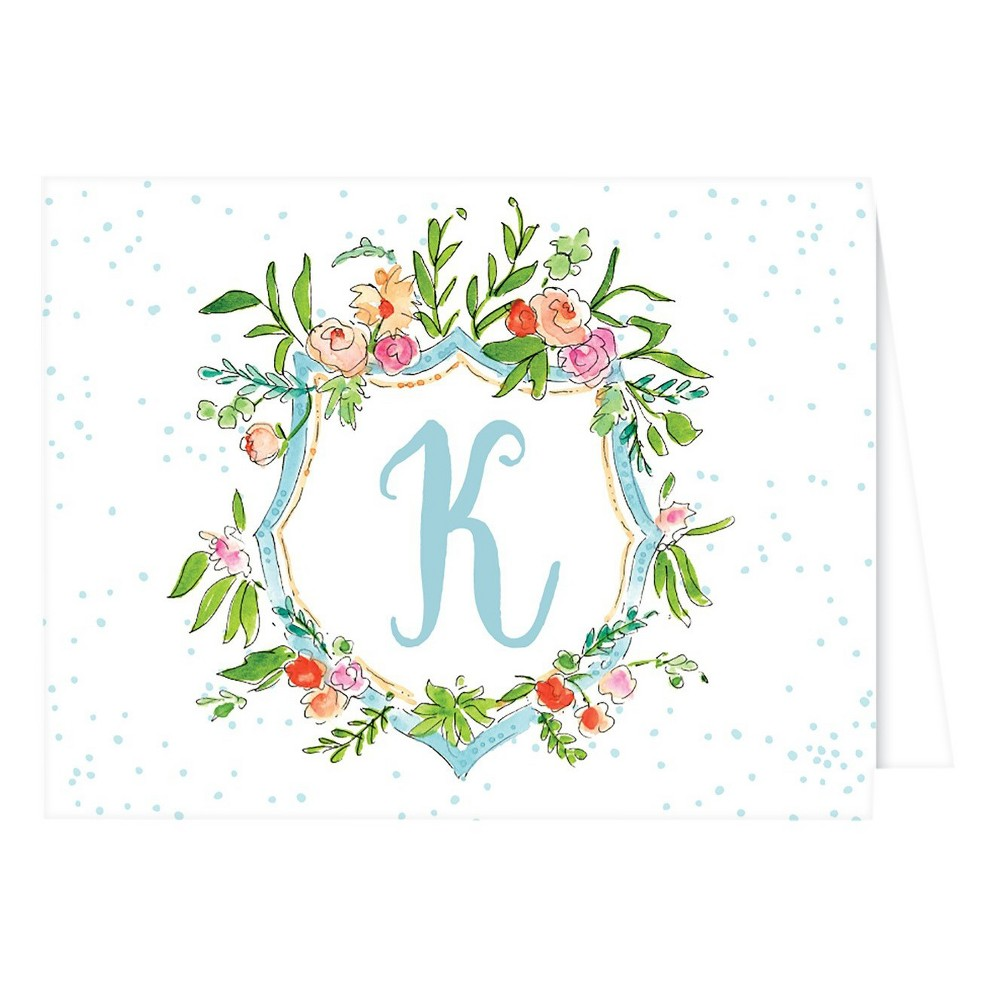 Folded Notes - Vintage Floral Crest Monogram - K, Multicolored