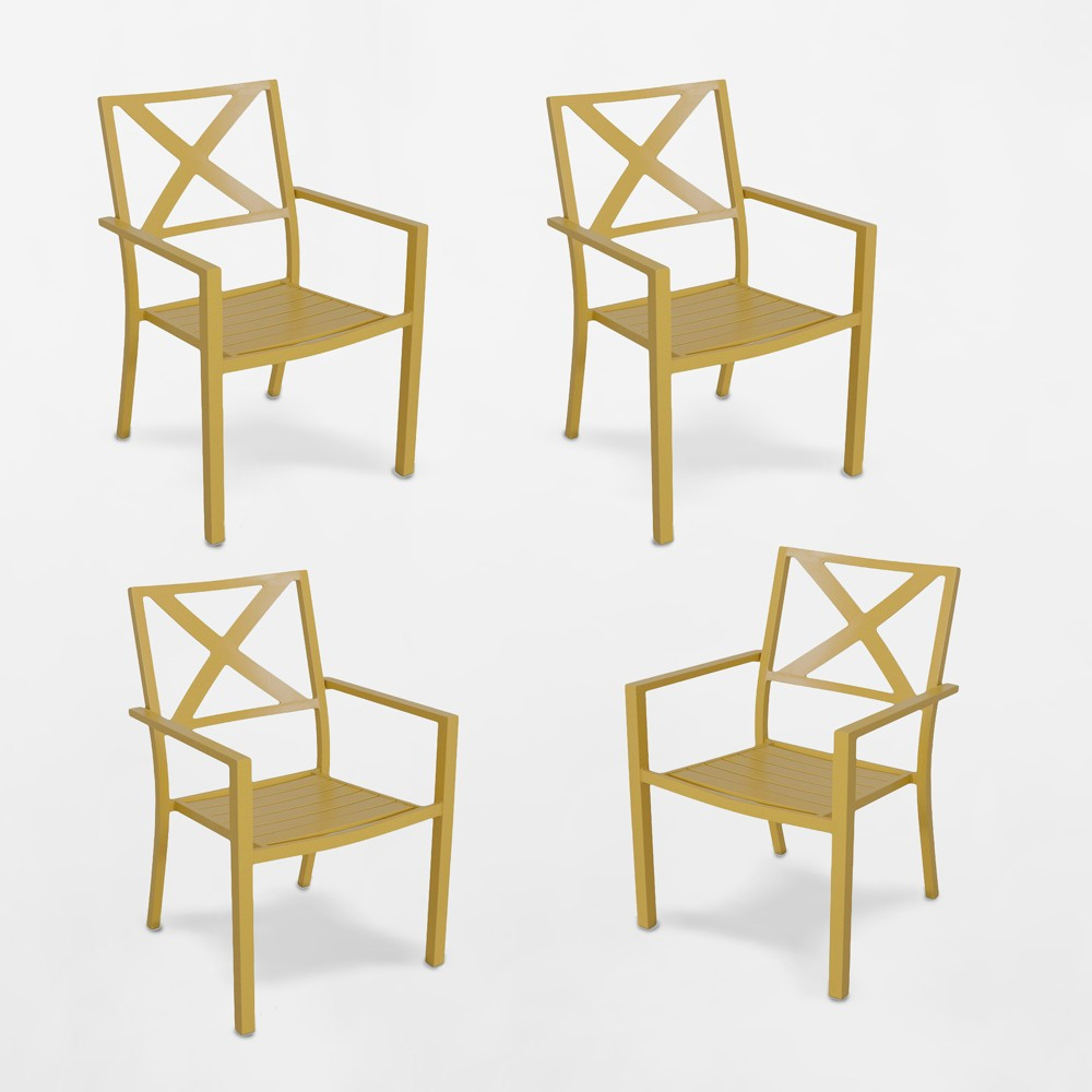 Afton 4pk Metal Stack Patio Dining Chair Yellow - Threshold