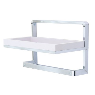 "9"" x 15"" Wall Mount Shelf Unit with Towel Rack and Tray Chrome/White - Danya B."