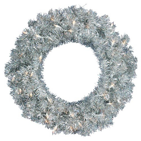 "24"" Pre-Lit Christmas Wreath Silver - White Lights - image 1 of 1"